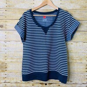 Hanes T-shirt Sweatshirt Stripes Grey White Medium